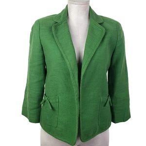 Talbots Open Blazer Womens Sz 4 Green Linen Blend